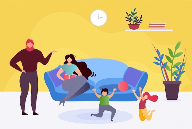 Resto felice della famiglia in illustrazione piana del salone a casa insieme