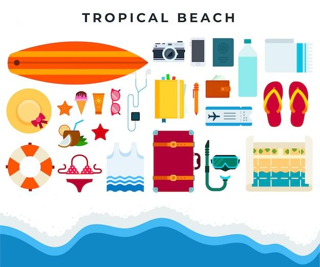 Resto spiaggia tropicale, set di accessori da spiaggia estate. illustrazione piatta vettoriale.