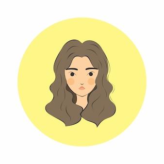 Restring strict face capelli ricci ragazza con sfondo giallo