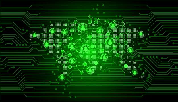 Rete della comunità aziendale con la mappa del mondo, uomo d'affari