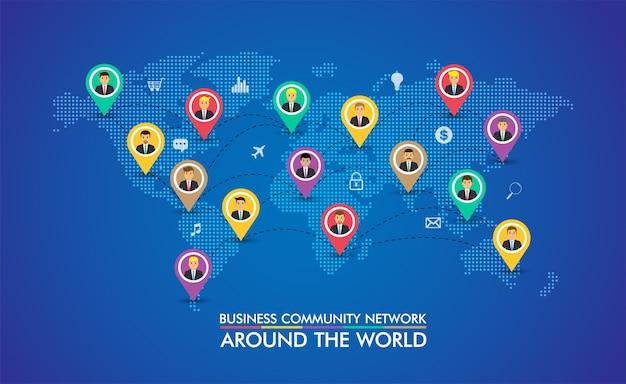 Rete di comunità aziendale con la mappa del mondo