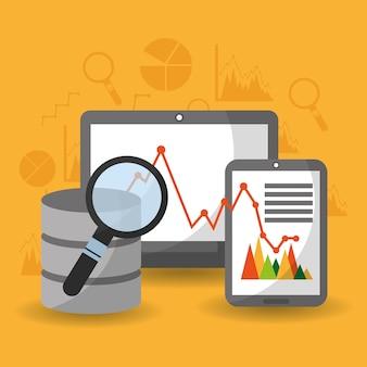 Rete di diagramma finanziario di ricerca di analisi del centro dati