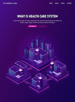 Rete di edifici medici in città intelligente