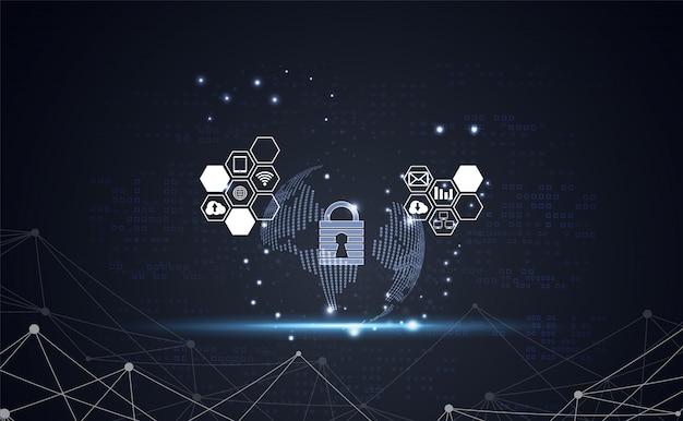 Rete di informazioni di base della rete di sicurezza di cyber sicurezza del mondo astratto della tecnologia