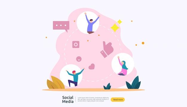 Rete di social media e concetto di influencer con carattere di giovani in stile piano