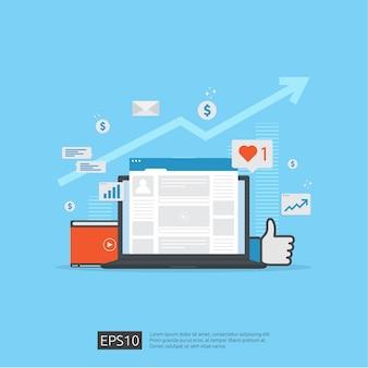 Rete di social media e poster di marketing digitale, pagina web, banner, presentazione. analisi del pubblico sul traffico web per una strategia di crescita aziendale.