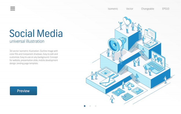 Rete di social media. uomini d'affari, lavoro di squadra. notizie, tendenze, contenuti, comunicazione moderna illustrazione al tratto isometrico.