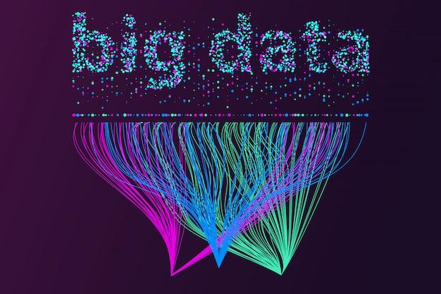 Rete di visualizzazione di big data. infografica futuristica, onda 3d, flusso virtuale, suono digitale, musica.