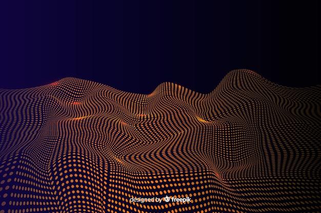 Rete dorata astratta delle particelle su fondo scuro