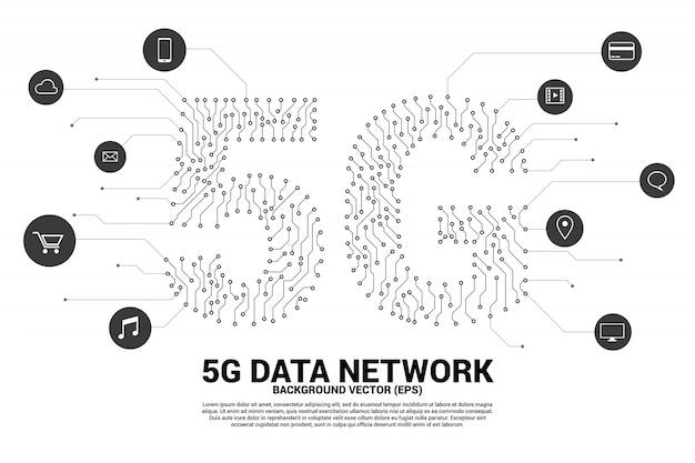 Rete mobile 5g dallo stile grafico di circuiti stampati a punti e linee