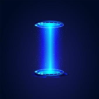 Rete moderna scienza tecnologia futuro astratto, portale e ologramma elementi cerchio futuristico. modello di progettazione dell'illustrazione