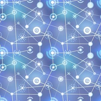 Rete neurale, segni di tecnologia su sfondo sfocato, modello senza soluzione di continuità