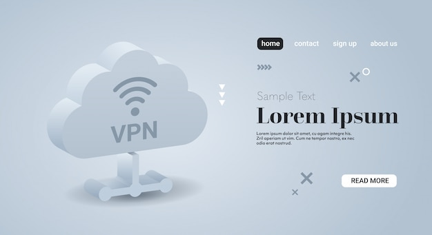 Rete privata virtuale cloud cyber web sicurezza e concetto di privacy connessione vpn online sicura