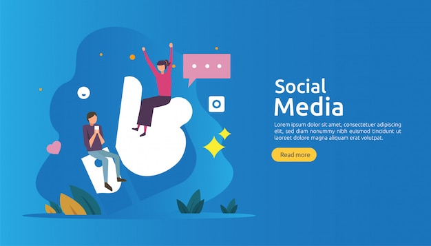 Rete sociale dei media e concetto di influencer con carattere di giovani in stile piano