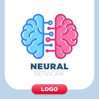 Reti neurali icona logo cervello umano.