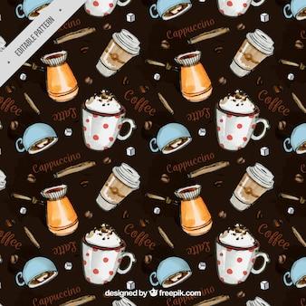 Reticolo acquerello decorativo con tazze di caffè