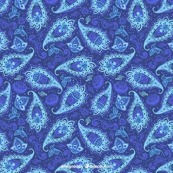 Reticolo blu di paisley floreale bstract