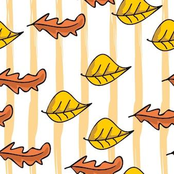 Reticolo dei fogli di autunno con stile disegnato a mano colorato