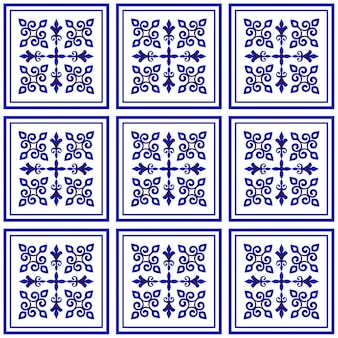 Reticolo delle mattonelle, sfondo decorativo in porcellana, elemento in ceramica floreale blu e bianco