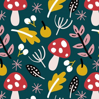 Reticolo di autunno con funghi e foglie