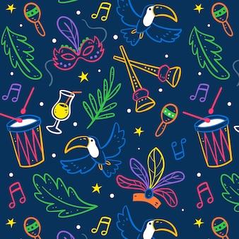 Reticolo di carnevale brasiliano multicolore disegnato a mano