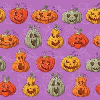 Reticolo di vettore disegnato a mano con zucche di halloween.