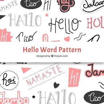 Reticolo disegnato a mano con ciao parola in diverse lingue