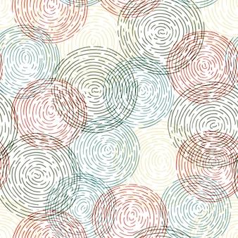 Reticolo disegnato a mano senza giunte con il cerchio di doodle.