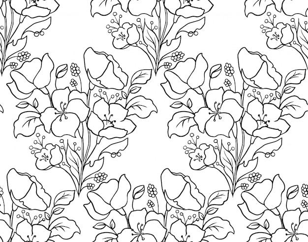 Reticolo floreale senza giunte sfondo botanico con fiori