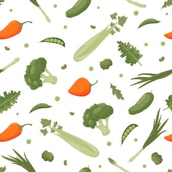 Reticolo luminoso senza giunte con le verdure. illustrazione
