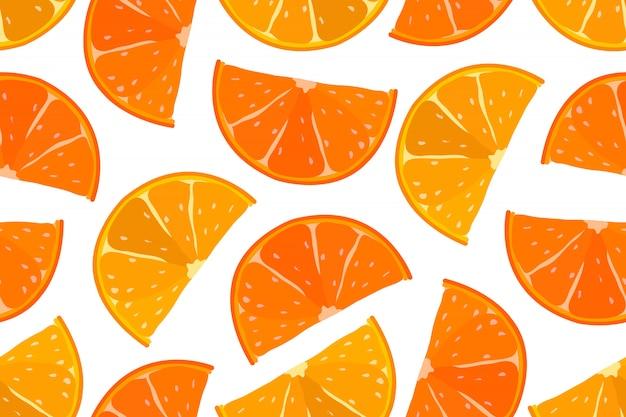 Reticolo senza giunte arancione della frutta succosa. fette arancio e giallo arancione isolate