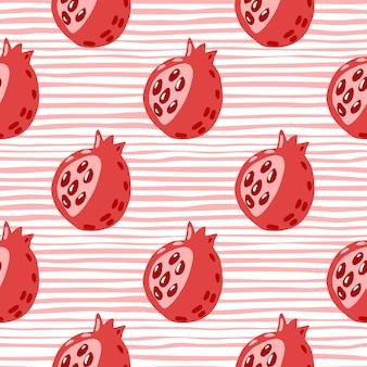 Reticolo senza giunte degli elementi astratti del granato. ornamento di frutta doodle nei colori rossi su sfondo spogliato.