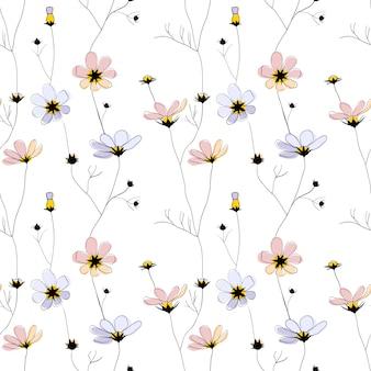 Reticolo senza giunte dei fiori delicati su bianco