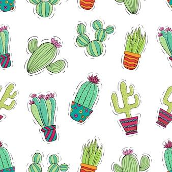 Reticolo senza giunte del cactus con colorato e stile di doodle