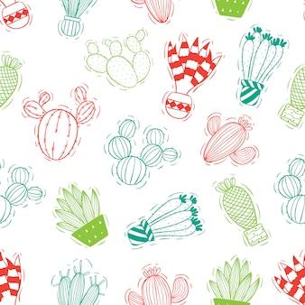 Reticolo senza giunte del cactus con stile colorato di doodle