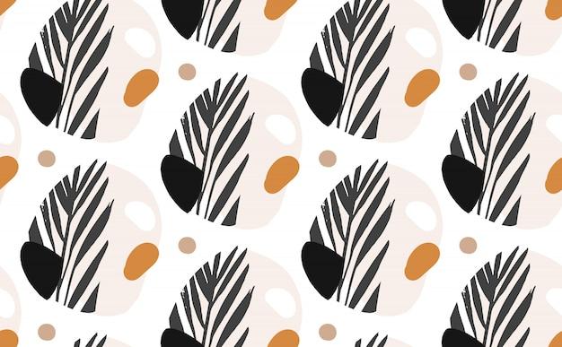 Reticolo senza giunte del collage delle illustrazioni grafiche creative astratte di vettore disegnato a mano con foglie di palma esotiche tropicali mottif isolato su priorità bassa bianca
