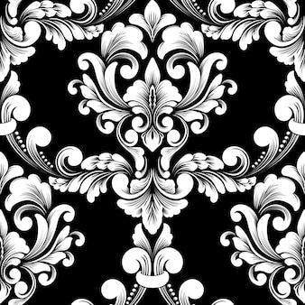 Reticolo senza giunte del damasco. ornamento damascato vecchio stile di lusso classico, carta da parati vittoriana reale