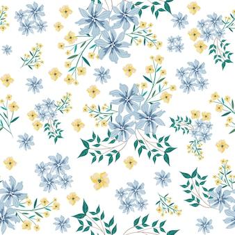 Reticolo senza giunte del fiore giallo e blu