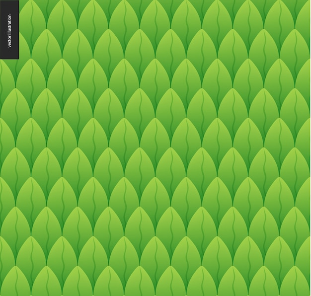 Reticolo senza giunte del fogliame. modello disegnato a mano del catroon di vettore senza cuciture della foglia verde