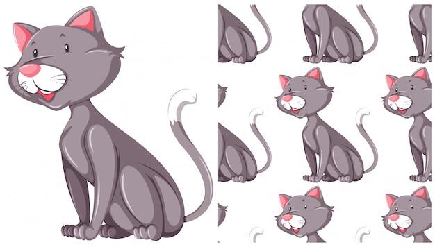 Reticolo senza giunte del gatto isolato su bianco