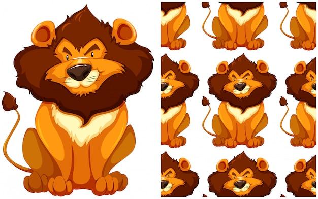 Reticolo senza giunte del leone isolato su bianco