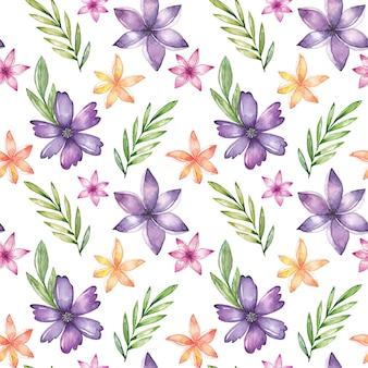 Reticolo senza giunte dell'acquerello con fiori e foglie