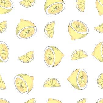 Reticolo senza giunte dell'acquerello disegnato a mano con limoni