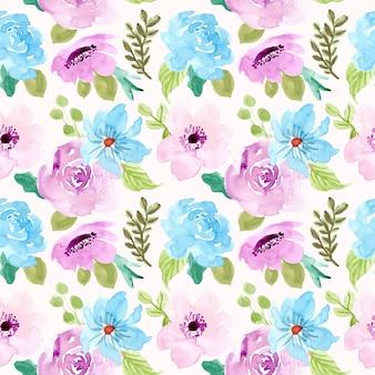 Reticolo senza giunte dell'acquerello floreale viola blu