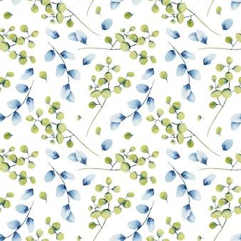 Reticolo senza giunte dell'acquerello rami di eucalipto verde e blu