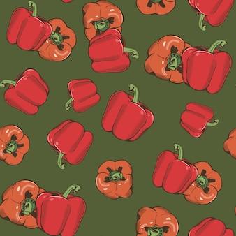 Reticolo senza giunte dell'annata con peperone su una priorità bassa verde. illustrazione colorata.