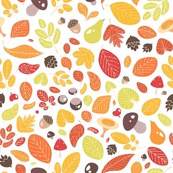 Reticolo senza giunte di autunno con foglie cadute o fogliame essiccato, ghiande, frutta, noci e funghi su bianco