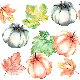 Reticolo senza giunte di autunno dell'acquerello con zucche e foglie