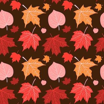 Reticolo senza giunte di autunno disegnato a mano