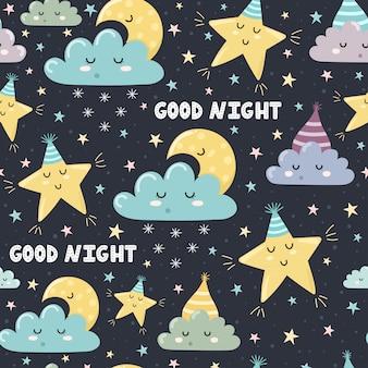 Reticolo senza giunte di buona notte con carina luna addormentata, nuvole e stelle. sogni d'oro